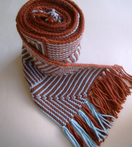 rolled scarf with fringe, pattern called Zed Scarf