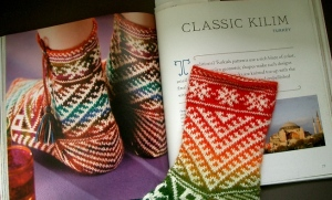 Book page of Classic Kilim sock pattern with a knitted version