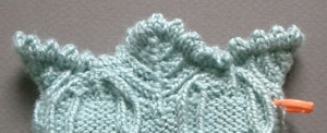 "Narrow hemmed edge with picots on ""On the Aran Isle"""