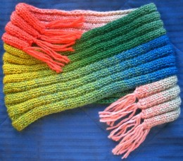 knitted cowl with fringe