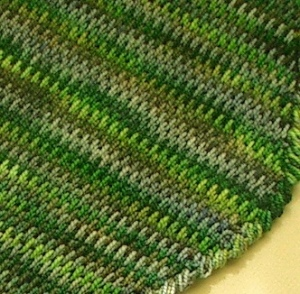 detail of tunisian crochet gobelin stitch on gobelin scarf