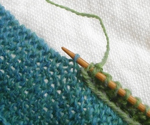 Where I choose to pick up edge stitch for joining the Ten Stitch Blanket