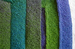 Ten Stitch Blanket showing both sides of the joined work