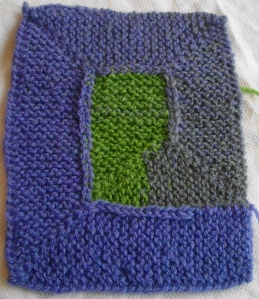 Swatch for Ten Stitch Blanket on so-called right side.
