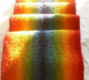 knitted scarf in rainbow spectrum